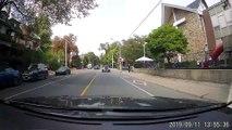 Cyclists Struggle at Stop Sign