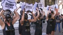 London Fashion Week: 'Dump leather,' demand slimed protesters