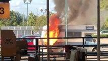 A campervan burst into flames at Morrisons car park in Ripon (Photo: Dale Hobson)