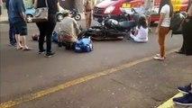 Homem fratura perna em colisão entre motos na Rua Recife; mulher também ficou ferida