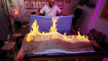 Egyptian masseur plays with fire to ease muscle pain