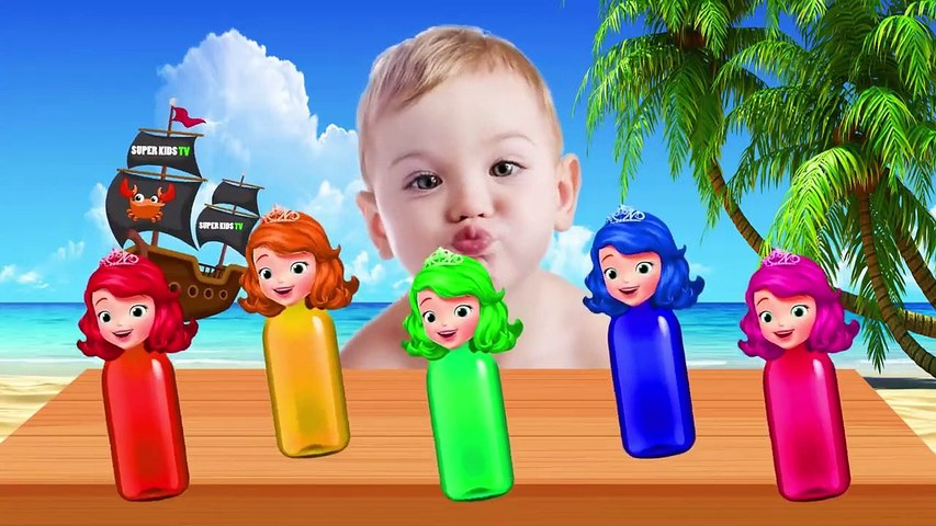 Learn colors with Colorful Sofia Bottles Finger Family Song Collection