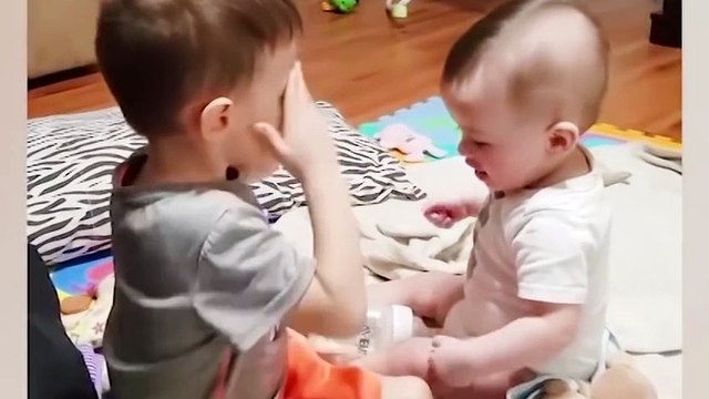 Funny Siblings Baby Playing Together - Siblings Baby Video