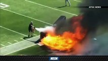 Nissan Stadium Field Bursts Into Flames Before Titans Vs. Colts