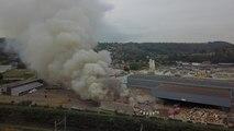 Important incendie au centre de tri du BEP à Floreffe
