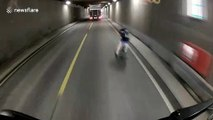 HGV driver's scary near miss with cyclist in Norwegian highway tunnel caught on dashcam