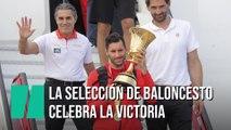 La selección española de baloncesto llega a Madrid