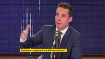 """Grève RATP : """"Les syndicats ont fait un copier-coller du rapport Delevoye, en disant, dans 10 ans, vous travaillerez 10 ans de plus et votre pension sera inférieure de 30%, ce n'est évidemment pas le projet du gouvernement"""", affirmeJean-Baptiste Djebbari"""