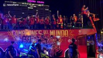 Spanish basketball team celebrate with fans in Madrid after becoming world champions