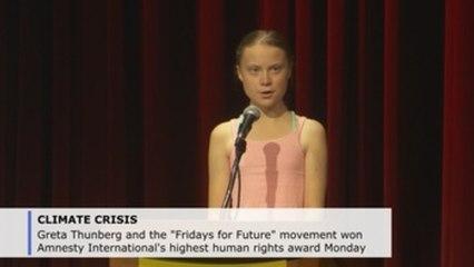 Teenage climate activist Greta Thunberg receives Amnesty International award