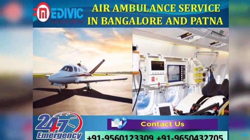 Quick Critically ill Patient Rescue Air Ambulance Service in Bangalore by Medivic