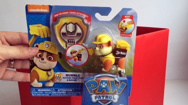 Paw Patrol Rubble Action Pack Pup and Badge Nickelodeon - Unboxing Demo Review