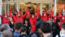 Extinction Rebellion hold a funeral on London Fashion Week's final day