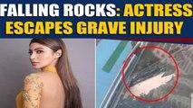 Mouni Roy's car damaged by falling rock at Mumbai metro site, video viral |OneIndia News