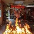 Bodybuilder Sets Log Barbells on Fire Before Powerlifting