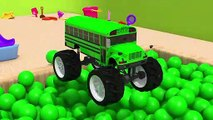 Learn Colors With Monster Truck Street Vehicle Soccer Ball for kids Nursery Rhymes