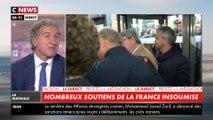Perquisitions à LFI : Jean-Luc Mélenchon est arrivé au tribunal de Bobigny entouré d'un comité de soutien