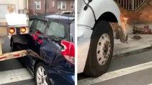 Un chauffeur de camion prend une route interdite aux poids lourds et arrache complètement une voiture