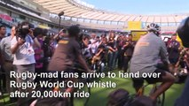 Twickenham-to-Tokyo cyclists hand over Rugby World Cup whistle after 20,000km ride