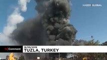 Explosion in der Türkei: Behälter schießt durch die Luft