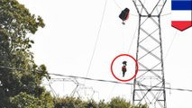 Belgian pilot dangles from power line as F-16 jet crashes in France