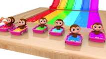 Learn Colors with Baby Monkey Water Slide Wheels On The Bus Song for Kid Children