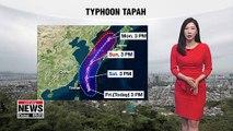 Typhoon Tapah to strike Jeju and Korea's southeastern regions