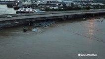 Breakaway barges strike I-10 bridge, shutting down freeway