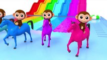 Learn Colors Baby Monkey Horse Water Slide Wheels On The Bus Song for Kid Children