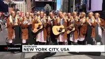 Friends 25th anniversary: Dozens of Phoebe look-alikes perform in New York