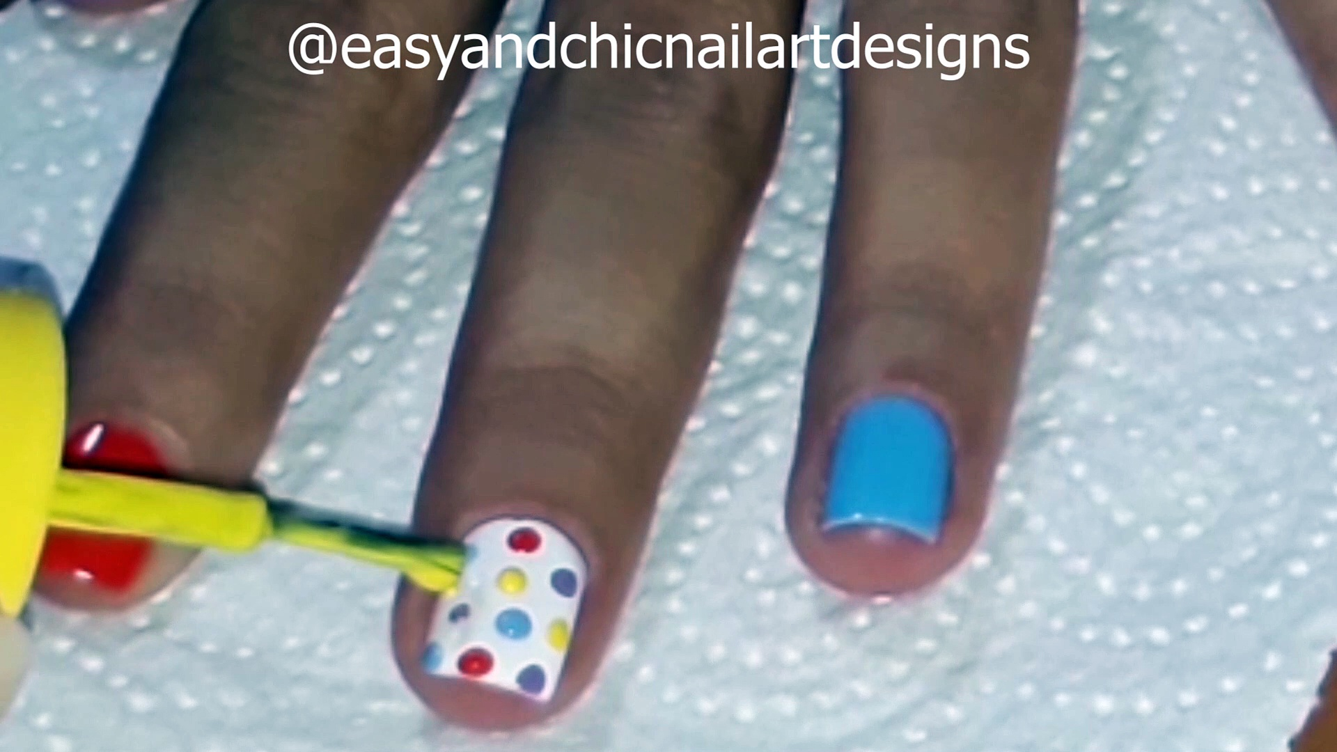 Colorful and pink dots WITHOUT ANY TOOL-Nail Art Designs without any tool