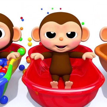 Learn Colors Baby Monkey Bath Time Finger Song Nursery Rhymes for Kid Children
