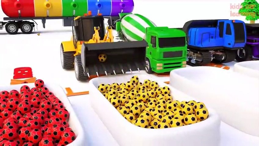 Aprende los Colores to Learn With Bulldozer Dump Truck Mixer Truck