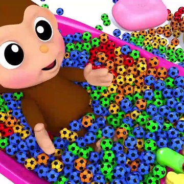 Learn Colors with Baby Monkey Soccer Ball Bath Time Finger Family Song for Kid Children