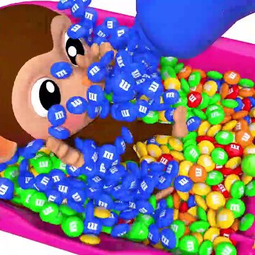 Learn Colors with Baby Monkey M&M Chocolate Bath Time Finger Family Song for Kid Children