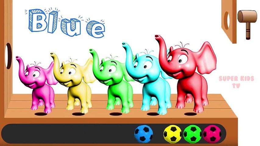 Learn Color Elephant Animal W Surprise Eggs Soccer Ball Finger Family Nursery Rhymes for Children