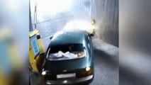 Nunca viste una locura igual en un parking: épica pelea con la barrera