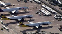 Pictures from Manchester Airport as Thomas Cook collapses