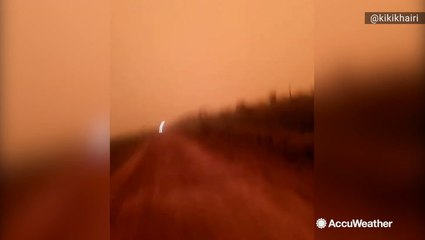 Sky turns red due to forest fires burning in Indonesia