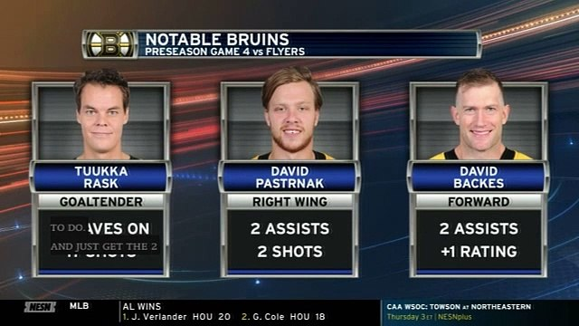 Tuukka Rask, David Pastrnak Among Bruins Top Players Monday Night