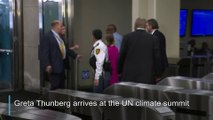 Greta Thunberg glares at Donald Trump as they arrive at UN climate summit