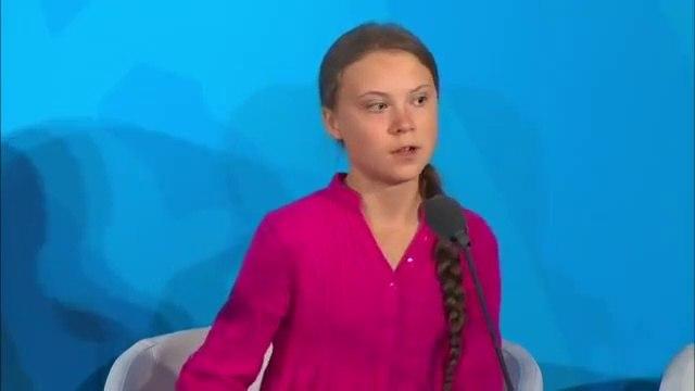 Climate activist Greta Thunberg addresses the UN