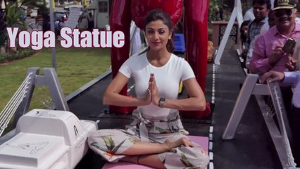 Shilpa Shetty Inaugurates Yoga Statue At Pushpa Park, JVPD Scheme