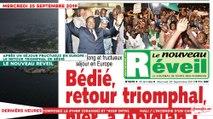 Le Titrologue du 25 Septembre 2019 :  Le retour triomphal de Bédié après un séjour fructueux en Europe