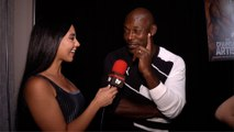 Jimmy Jean-Louis Interview 'The Chainsaw Artist' Gallery Event Red Carpet