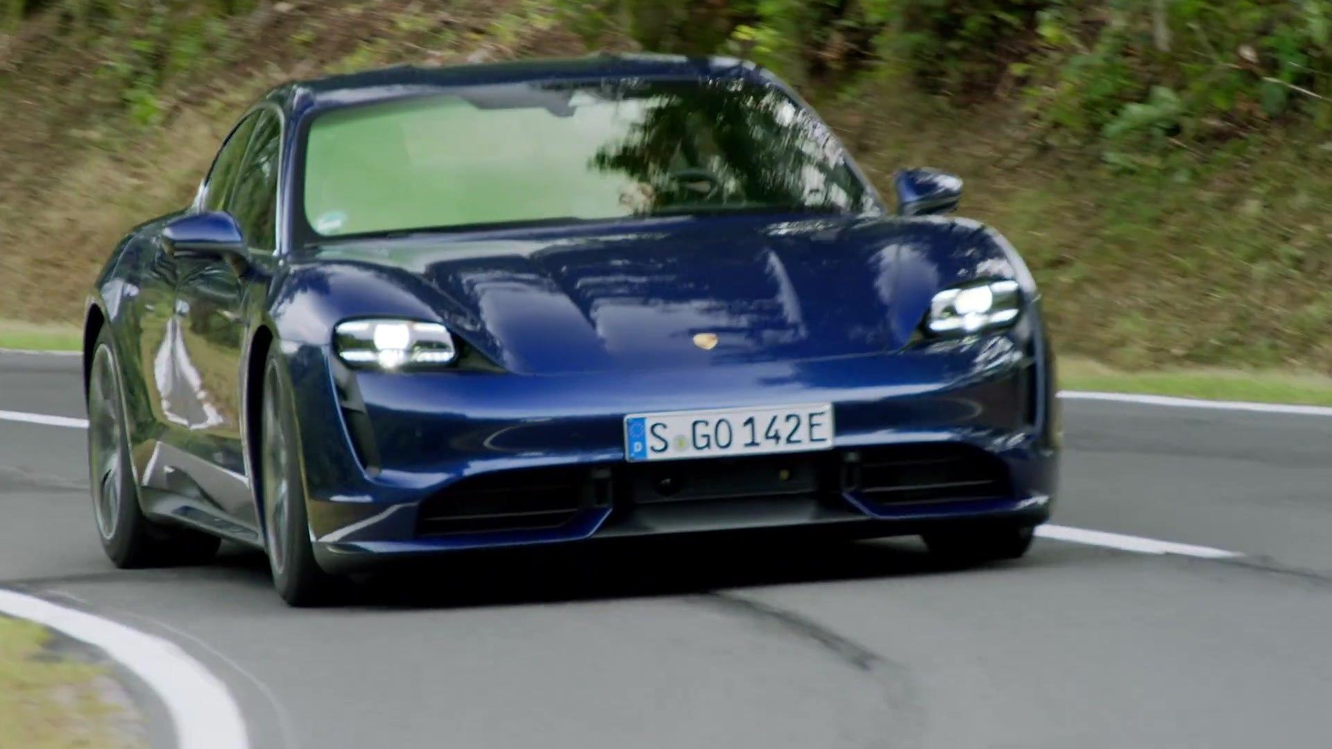 Porsche Taycan Turbo In Gentian Blue Metallic Driving Video Video Dailymotion