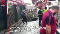 Ortaköy'de yolda çökme meydana geldi