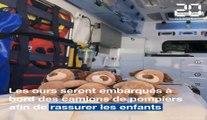 A Rennes, des peluches embarquent avec les pompiers pour rassurer les enfants