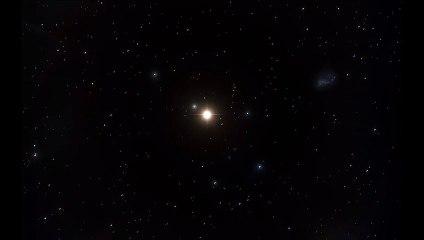 Simulación de un exoplaneta girando alrededor de una estrella enana