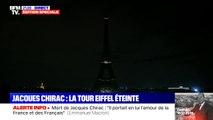La Tour Eiffel s'éteint pour saluer la mémoire de Jacques Chirac